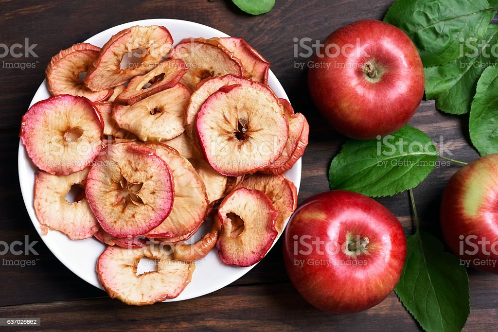 Apple chips, top view stock photo