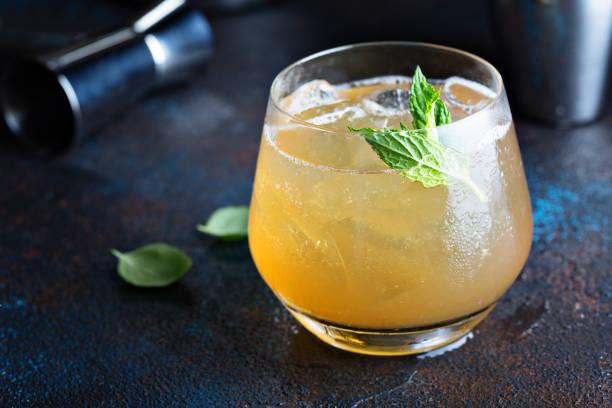 Apple cider cocktail stock photo