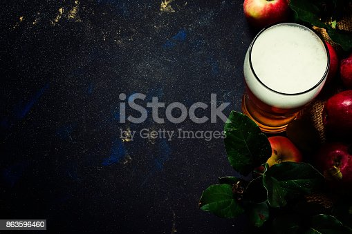 istock Apple cider in a large beer glass 863596460