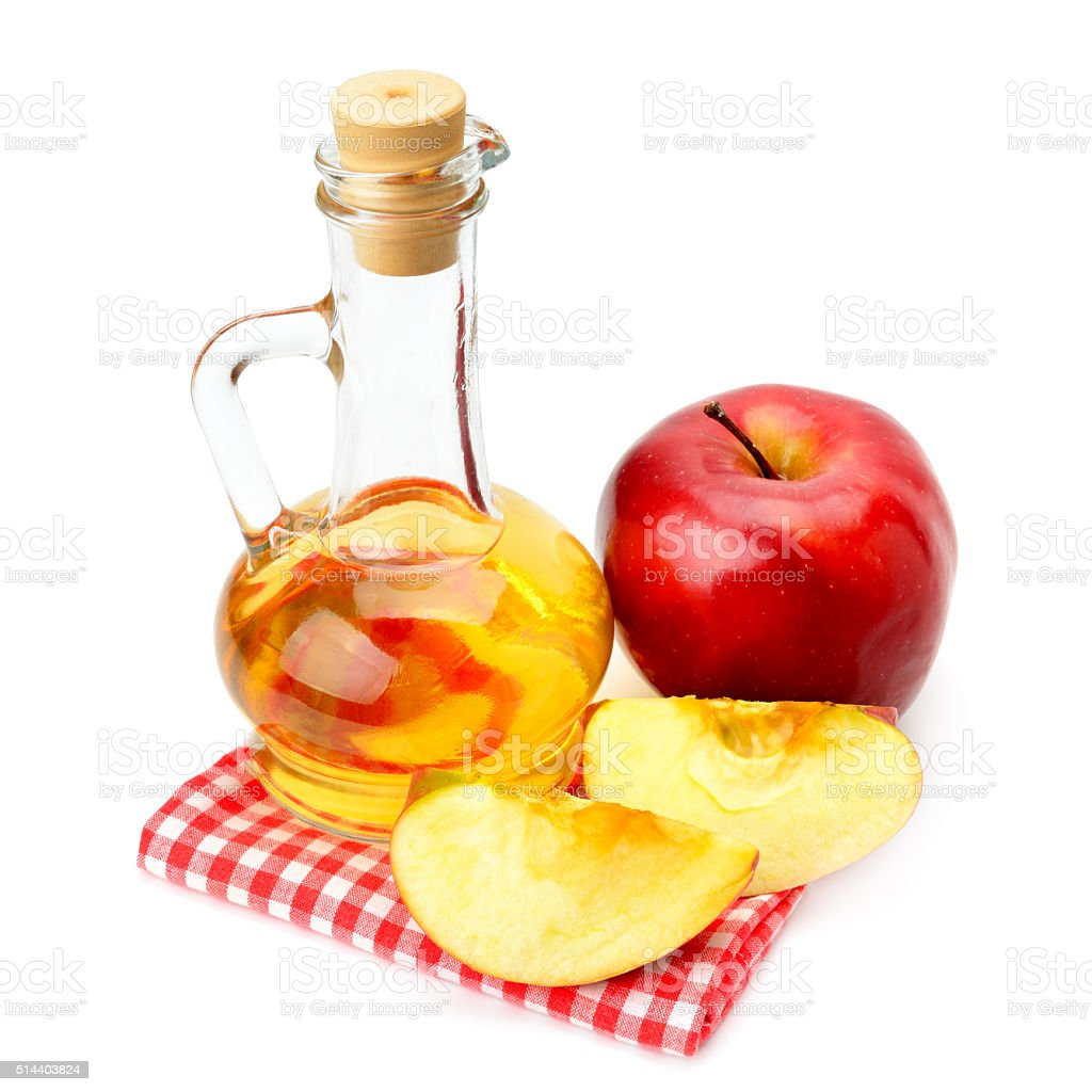 apple cider vinegar and apples stock photo