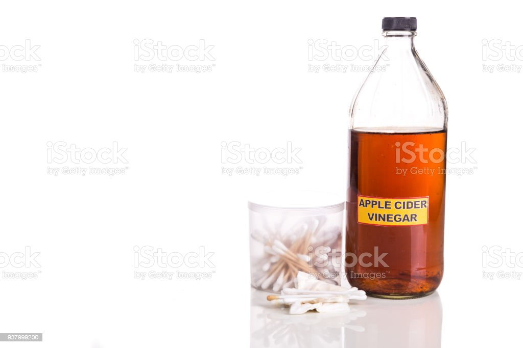 Apple cider vinegar effective natural remedy for cleansing body inflammation. stock photo