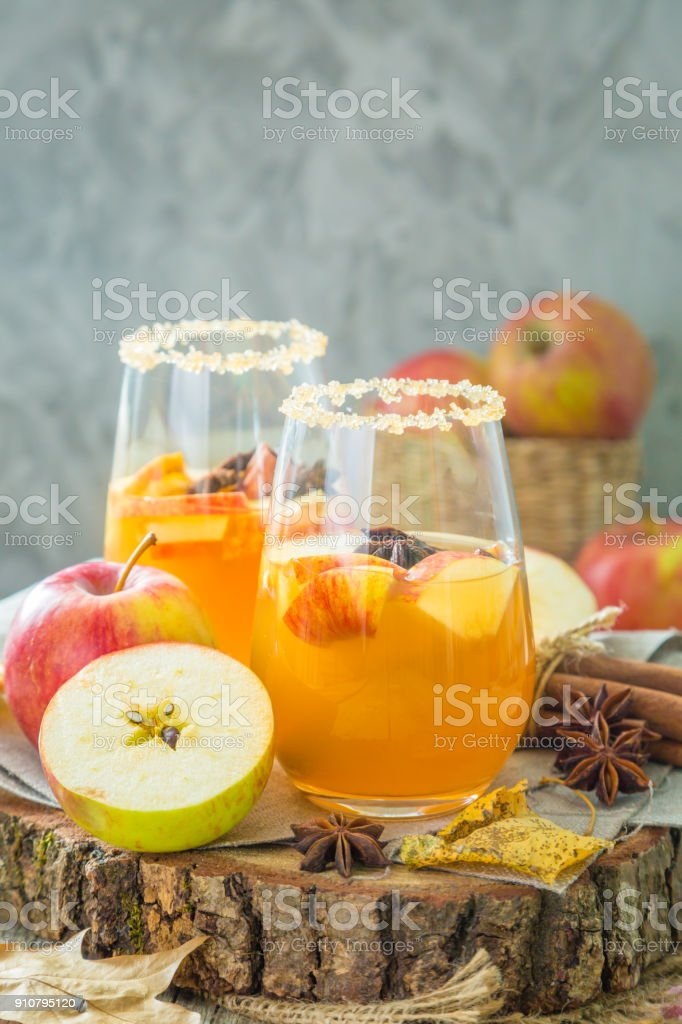 Apple cider with cinnamon and anise stock photo
