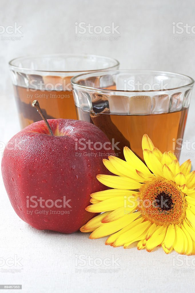 Apple cider with cinnamon sticks royalty-free stock photo