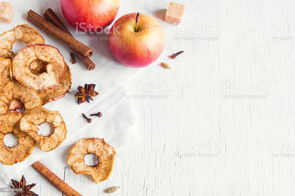 apple cinnamon chips stock photo