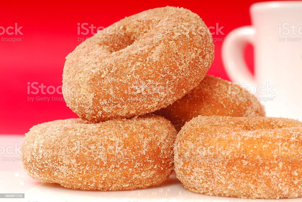 Apple cinnamon doughnuts with coffee royalty-free stock photo