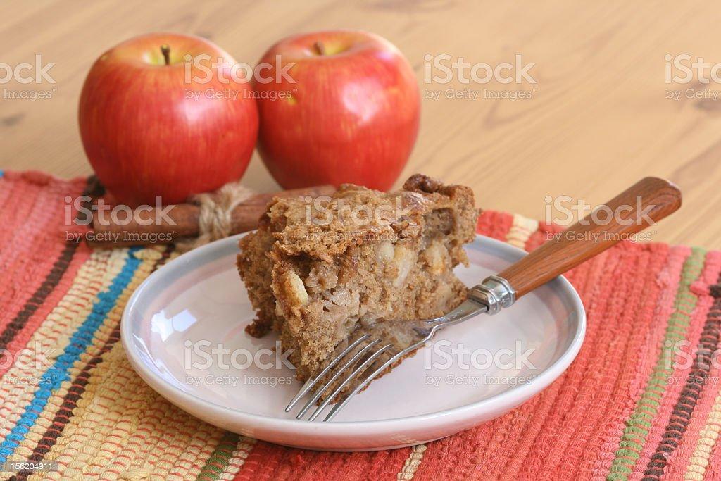 Maçã fatia de bolo de café e - foto de acervo