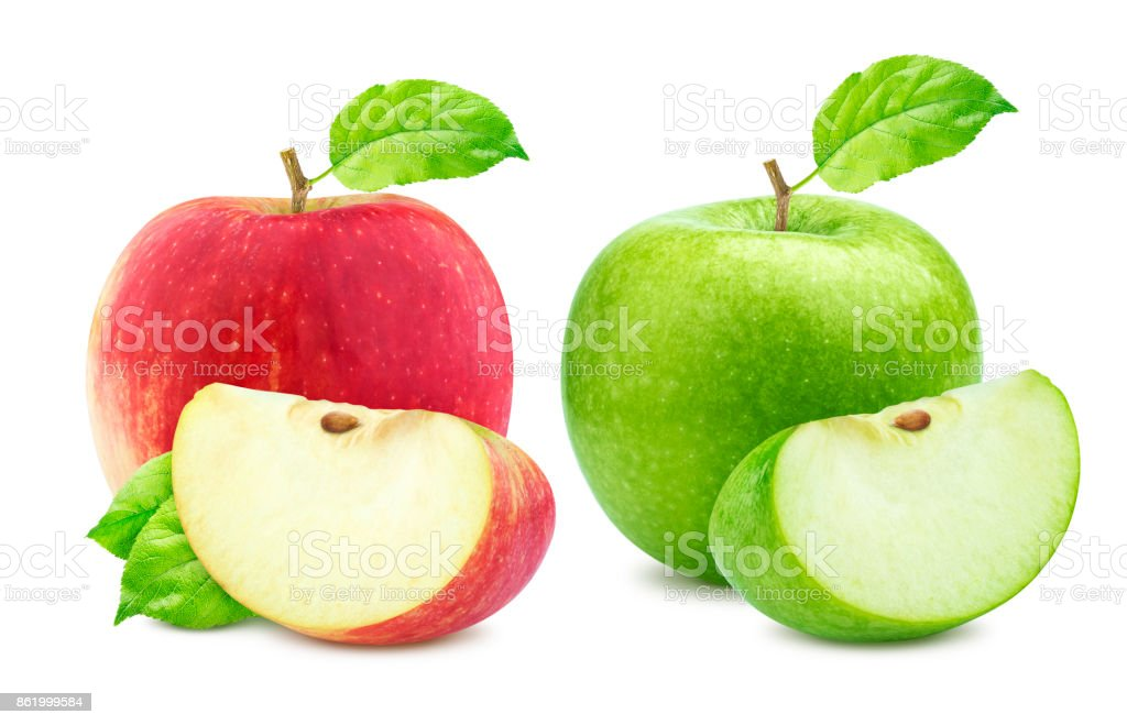 Apple collection. One green and single red apples and quarter piece isolated on white background stock photo