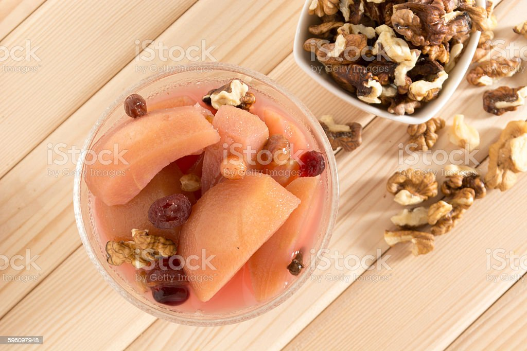 Apple compote with walnuts Lizenzfreies stock-foto