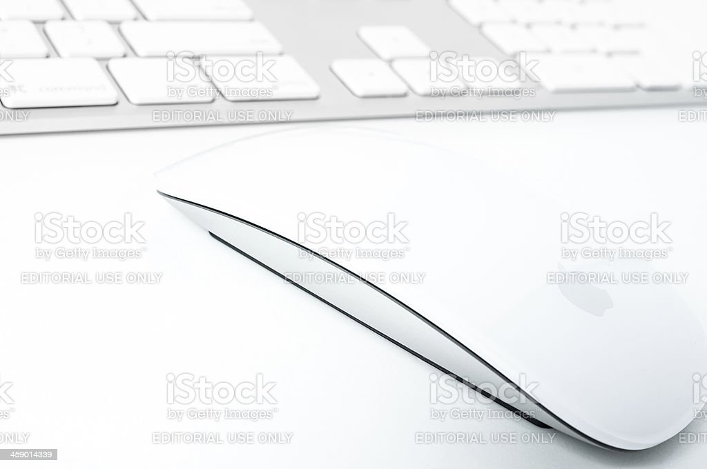 Apple Computer Keyboard and Magic Mouse royalty-free stock photo