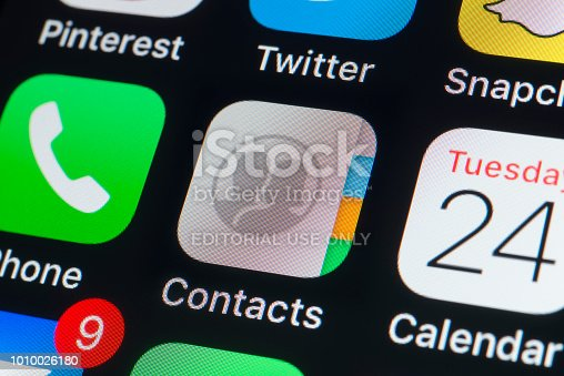 istock Apple Contacts, Calendar,Phone and other Apps on iPhone screen 1010026180