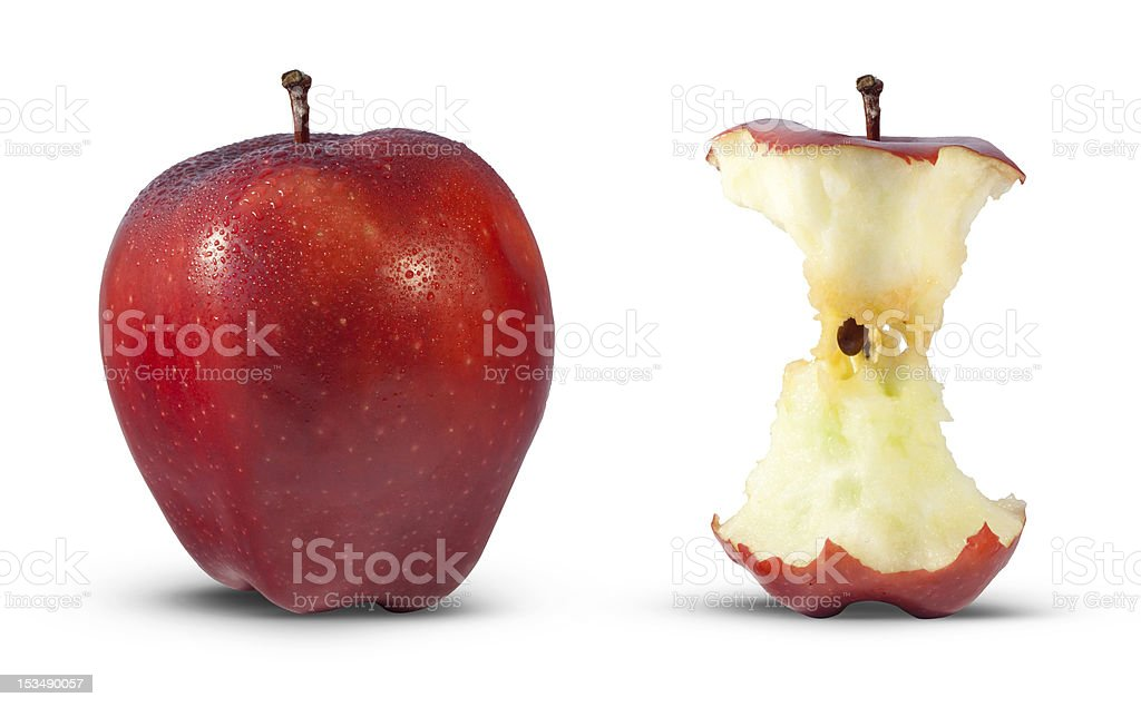 Apple core eating royalty-free stock photo