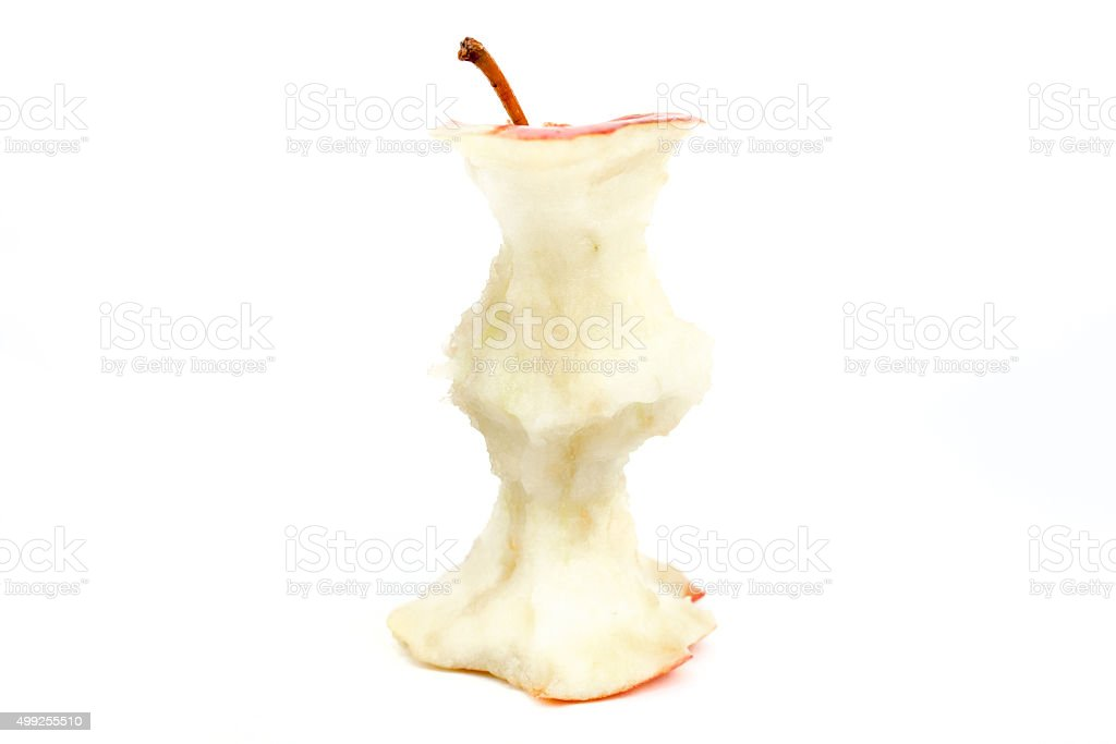 Apple core isolated on white stock photo
