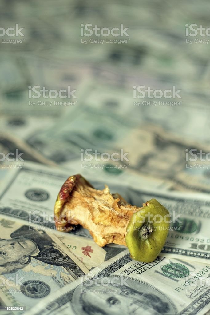 Apple Core on Cash royalty-free stock photo