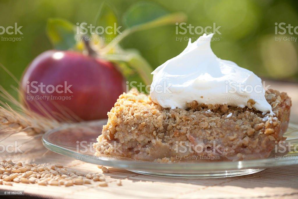Apple Crisp Dessert Outdoors in Sunshine stock photo