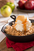 Apple Crumble (of Apple Crisp) baked in a cast iron skillet