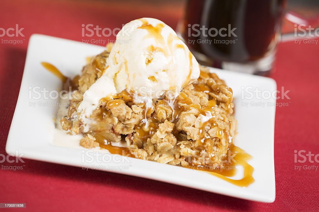 Apple crisp pie with vanila ice cream stock photo
