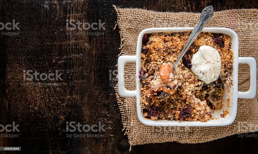 Apple crumble cake stock photo