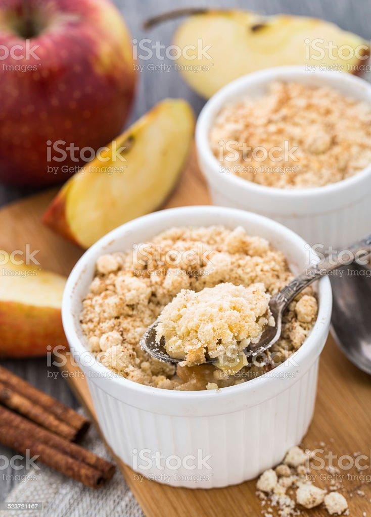 Apple crumble dessert stock photo