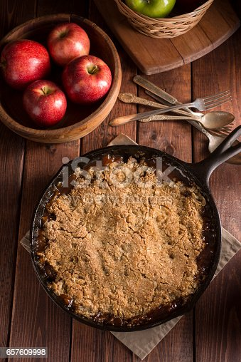 Apple Crumble (or Apple Crisp) baked in a cast iron skillet