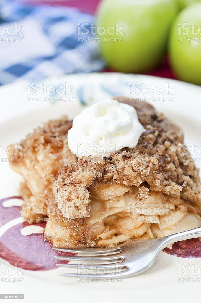 Apple Crumble with cream stock photo