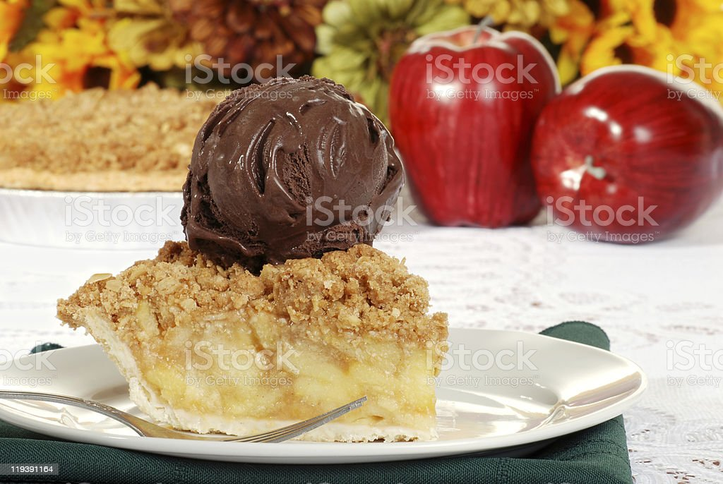 apple crumble with dark chocolate ice cream and fork royalty-free stock photo