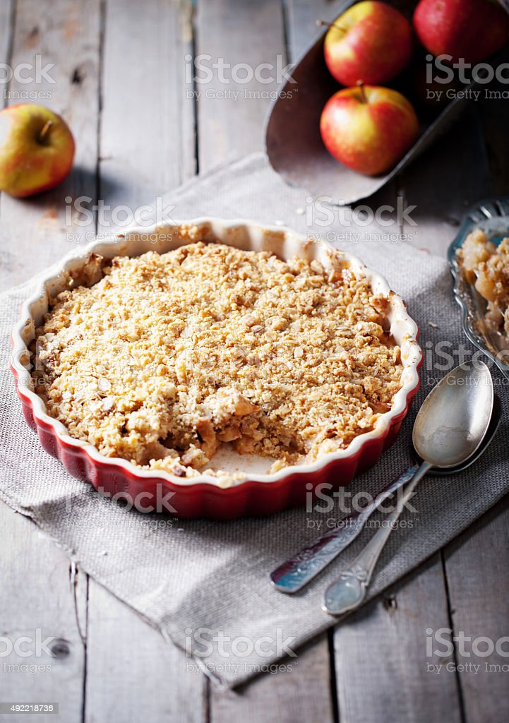 Apple crumble  with  fresh apples stock photo