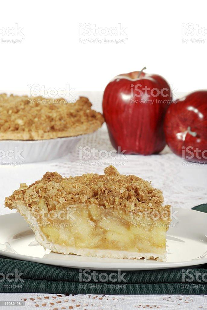 apple crumble with fresh fruit stock photo