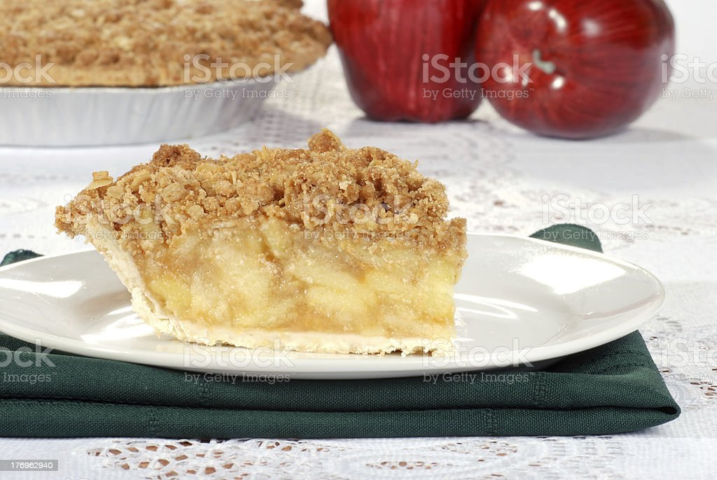 apple crumble with pie in the background stock photo