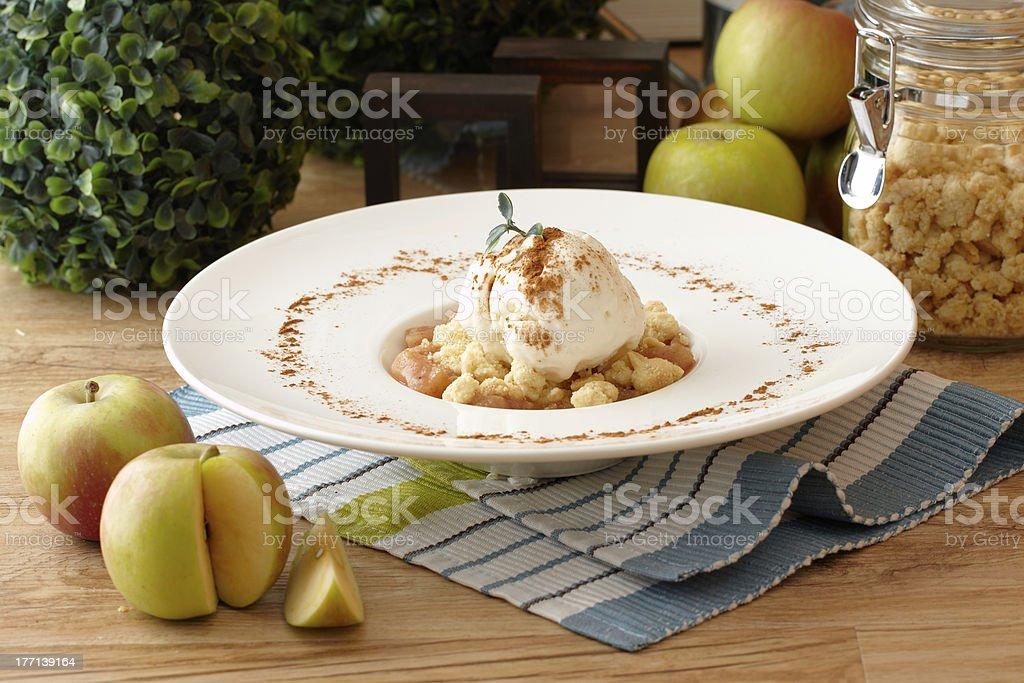 apple crumble with vanilla ice cream stock photo