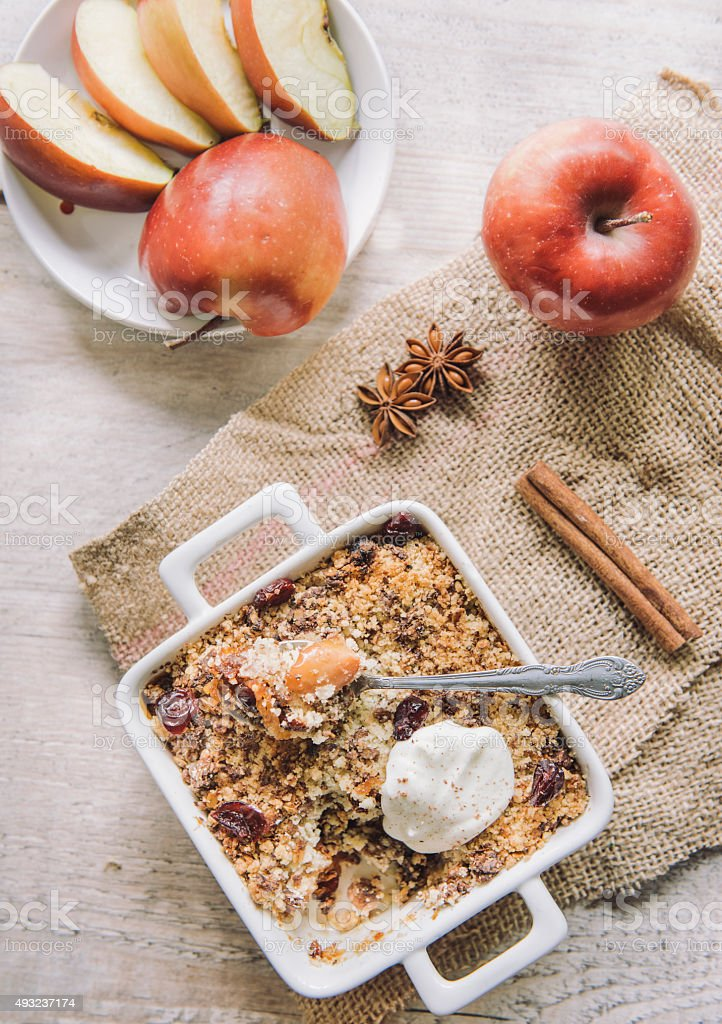 Apple crumbles stock photo