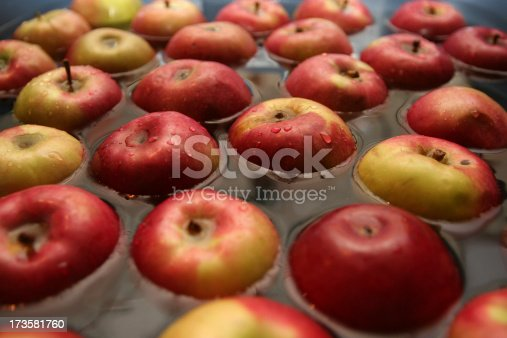 apples floating in water awaiting dunking game