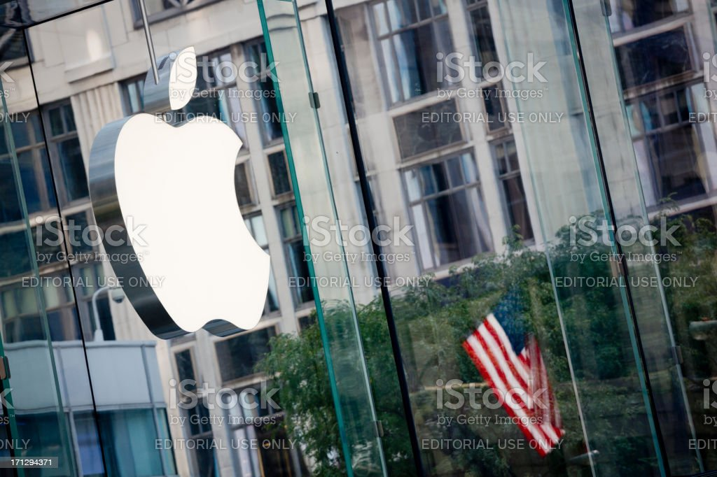 Apple Flagship Store and Logo, New York City stock photo