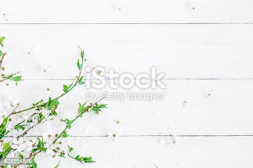 istock Apple flowers on white wooden background. Flat lay, top view 625854846