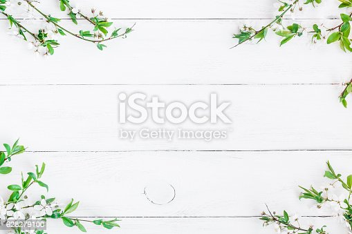 istock Apple flowers on white wooden background. Flat lay, top view 628279100