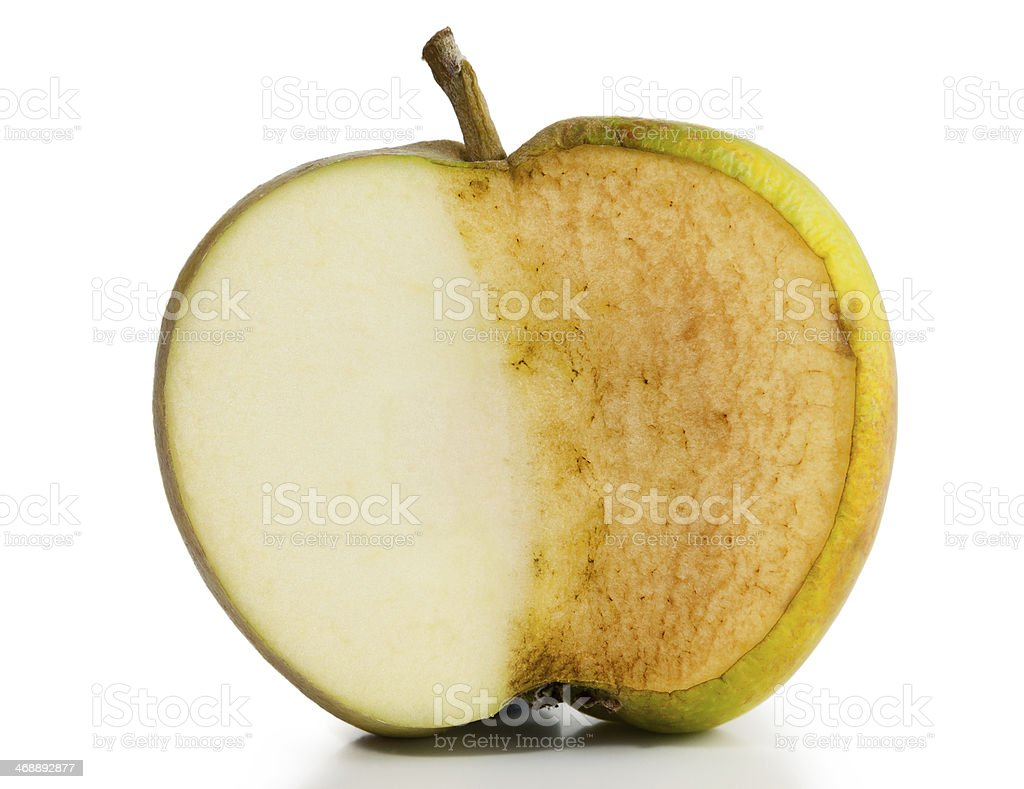 Apple Fresh and Decayed stock photo