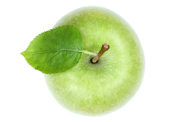 apple fruit top view green isolated on white - golden photos et images de collection