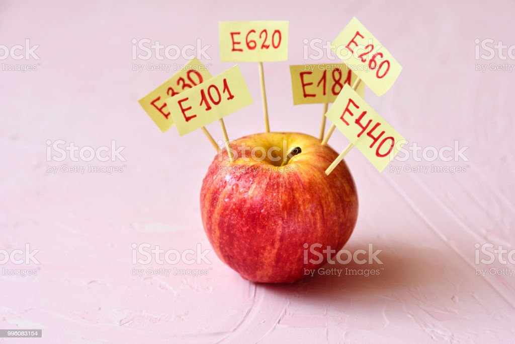 Apple Fruit with natural E additives stock photo