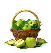 Wicker basket full of ripe apples on a white background. Isolated. Seasonal fruit gathering, fall harvest.  agriculture and farming concept, copy space