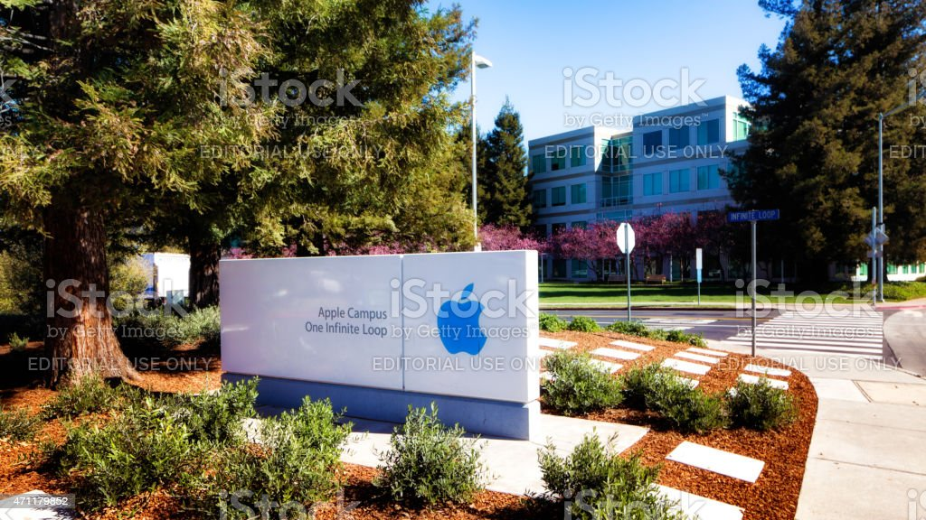 Apple headquarters campus entrance with infinite loop sign stock photo