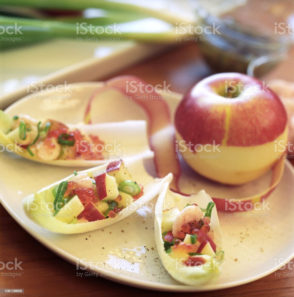 Apple Hors D'oeuvres or Appetizers Arranged on Plate royalty-free stock photo