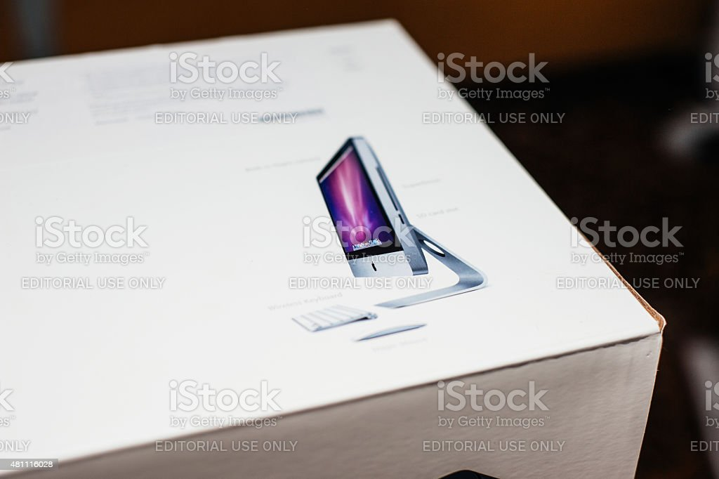 Apple iMac computer in box stock photo
