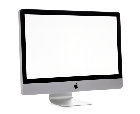 San Diego, California, United States - November 23rd 2011: This is a angled view of the 27 inch Apple iMac. The iMac is a self contained personal computer and has won numerous awards for its elegant design. The iMac was photographed in the studio on a white background and is displaying a white screen.