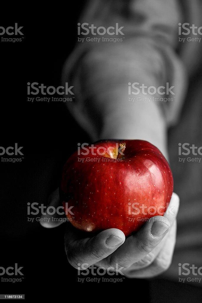 Apple in black and white hand stock photo