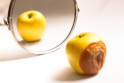 Apple in good condition looking at itself in the mirror while its back is rotten. Psychological concept, deception