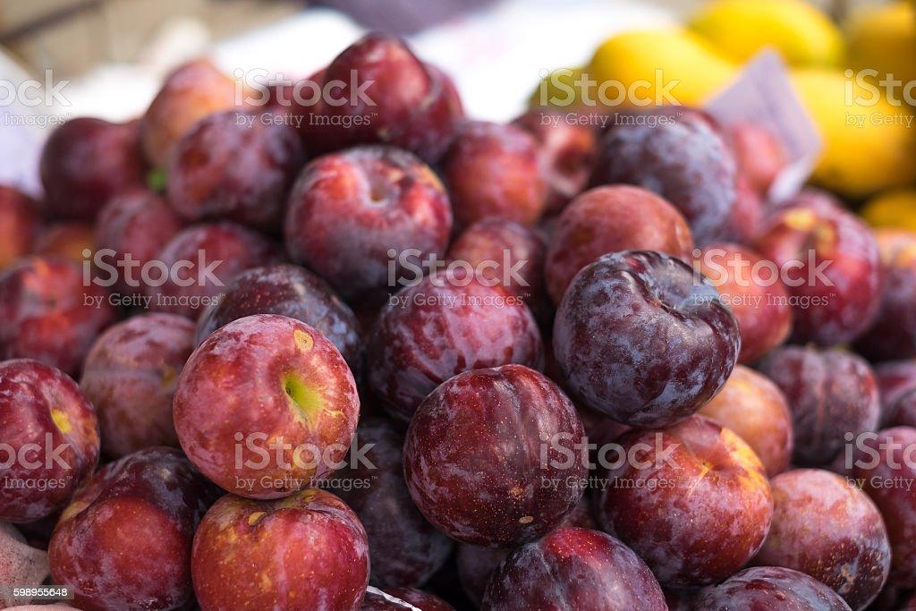 Apple in street market stock photo