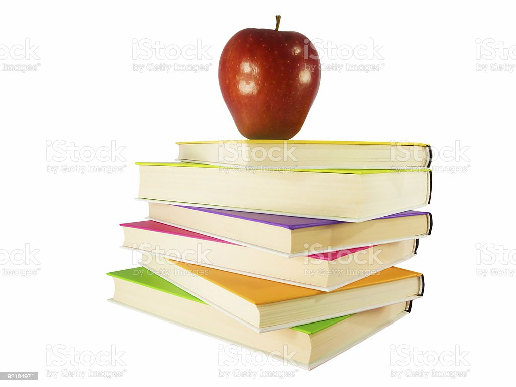 apple in top of books royalty-free stock photo