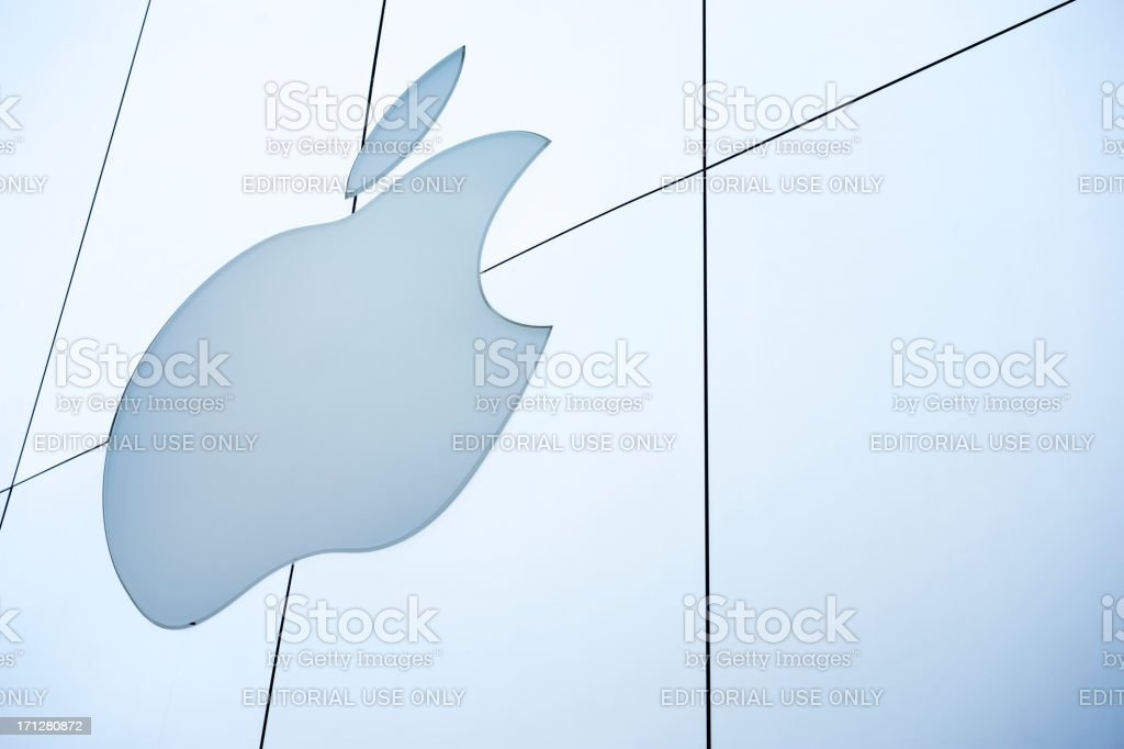 Apple Inc Logo in Brushed Metal Store Facade stock photo
