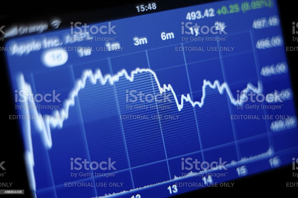 Apple Inc stock graph on iPhone 4s stock photo
