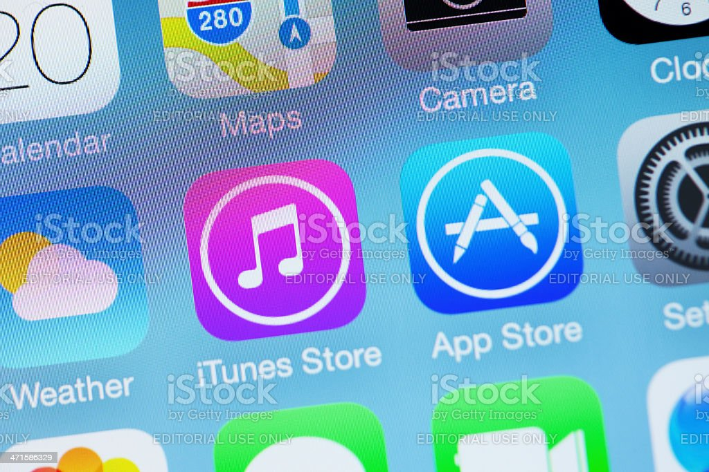 Apple iOS7 Icon - iTunes Store Weather App stock photo