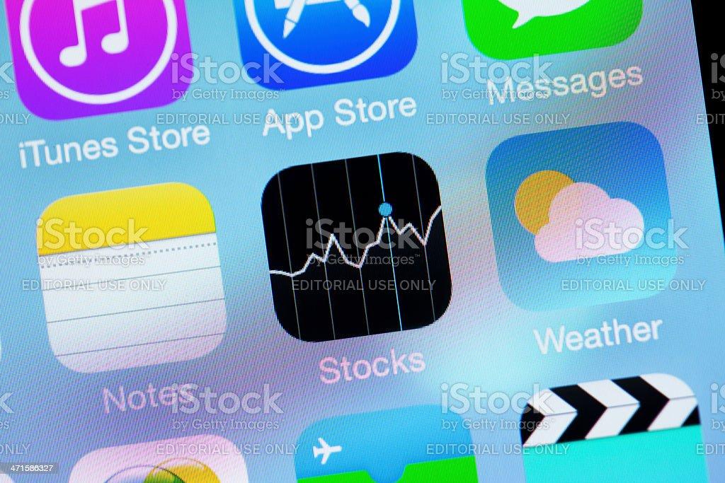 Apple iOS7 Icon - Notes  Stocks  Weather royalty-free stock photo